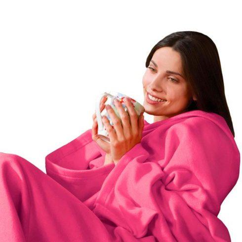 Snug, pătură cu mâneci și buzunar (roz)