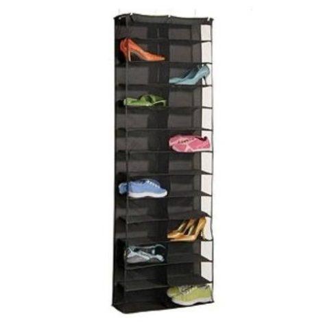 Suport pentru pantofi, montabil pe ușă, 160x55x16 cm, negru