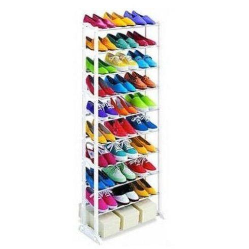 Suport pentru încălțăminte din plastic și metal cu 10 rânduri 51,5 x 16,3 x 7 cm, - alb