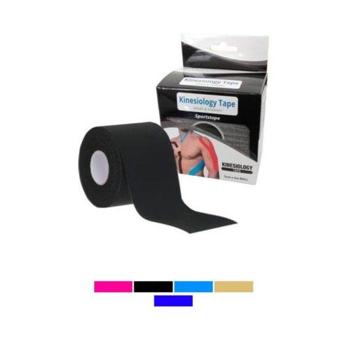 Bandă kinesiologică, negru, 5 cm x 5 m