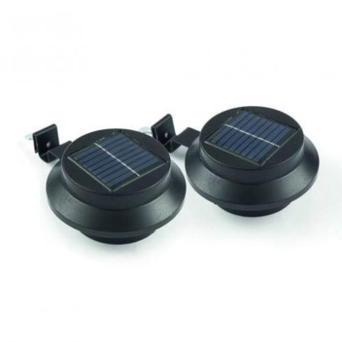 Lampa solară pentru jgheab, negru, 1 pereche