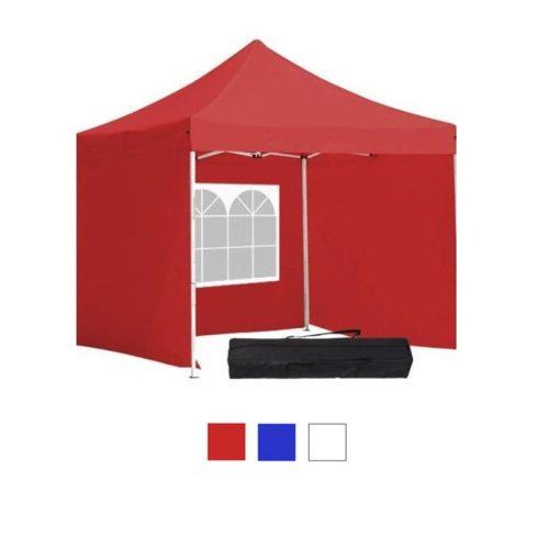 Pavilion 3x3 cu perete lateral și geantă de tramsport - roșu