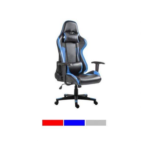 Scaun gaming, cu suport lombar si tetiera,  Albastru