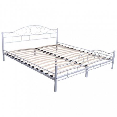 Cadru metalic de pat frantuzesc cu grilaj cadou, 140x200 cm, Alb