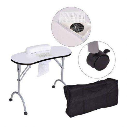 Masă portabilă de manichiură cu aspirator încorporat și geantă de transport, Alb