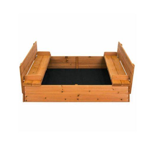 Ladă de nisip din lemn cu băncuțe și capac, 97,5 x 97,5 x 37 cm