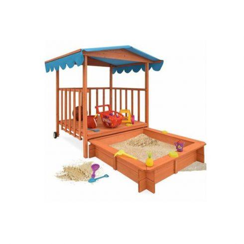 Casă de joacă din lemn cu ladă de nisip și acoperiș umbre