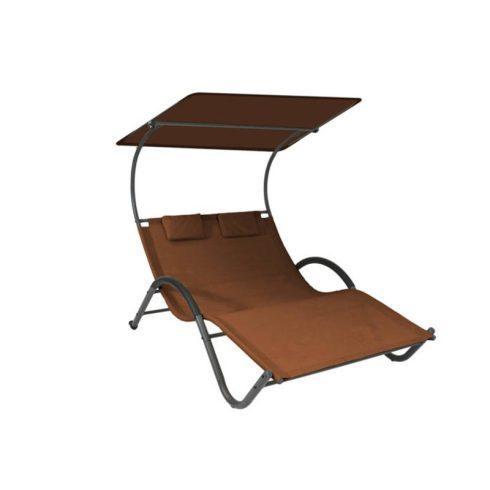 Șezlong pentru două persoane, tip pat, cu două perne și copertină reglabilă, marou