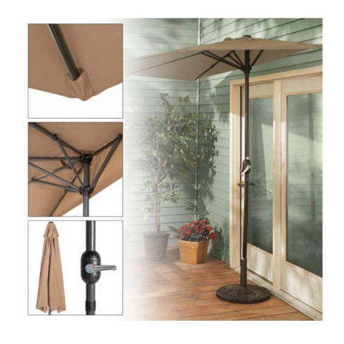Umbrelă de balcon semirotundă, Bej