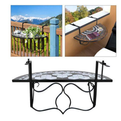 Masă suspendată pliabilă pentru balcon, Negru
