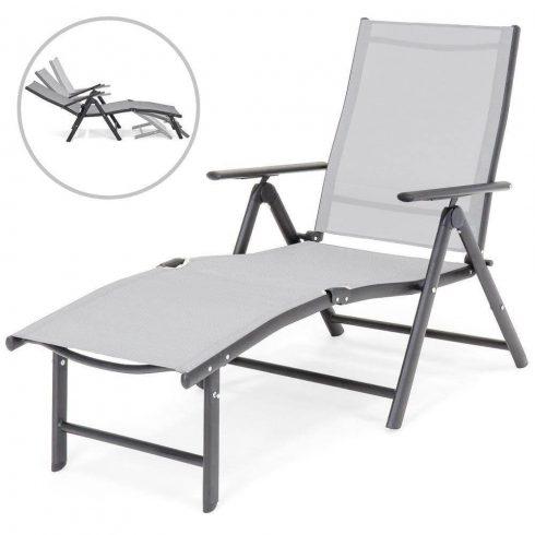 Șezlong de plajă cu spătar înclinabil și suport pentru picioare reglabil