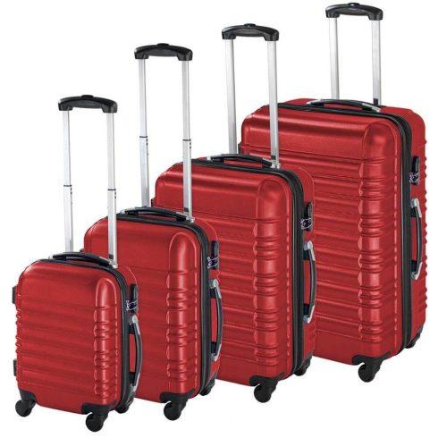 Set de 4 trolere cu carcasa rigidă, roșu