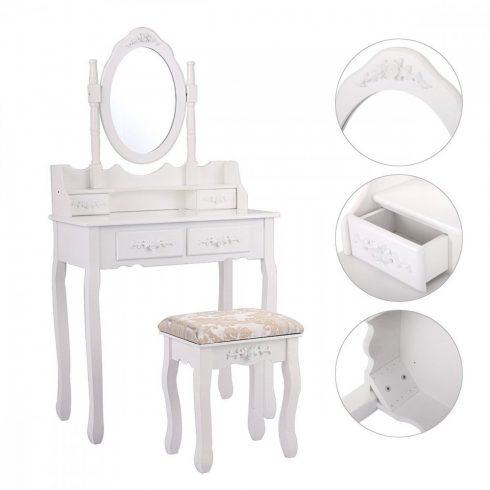 Măsuță de toaletă, cu oglindă ovală, 4 sertare și taburet, Alb
