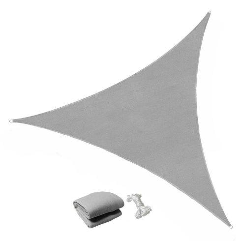 Copertină tip parasolar, triunghi, 3.6 x 3.6 x 3.6 m, gri, prelată de soare pentru grădină și terasă