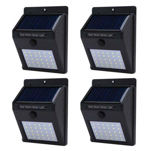 Set de 4 buc lampă solară cu senzor de amurg, Negru
