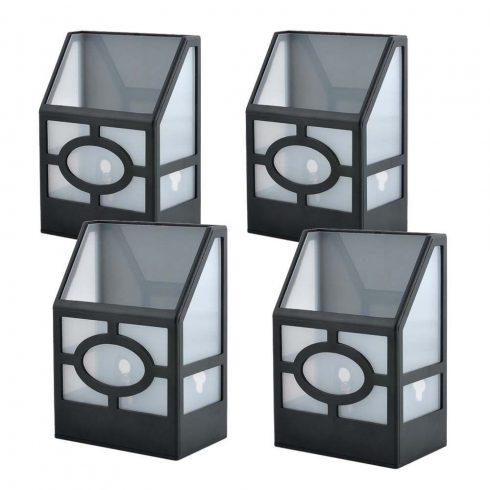 Set 4 buc lampă solară pentru exterior, Negru