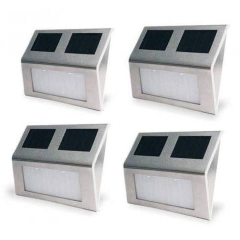 Set 4 buc lampă, încărcare solară, montare pe perete, pentru exterior, Argintiu