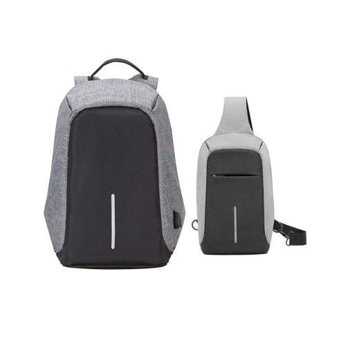 Mini-Rucsac antifurt, cu port USB incarcare telefon, cu geantă laterală cadou, Gri