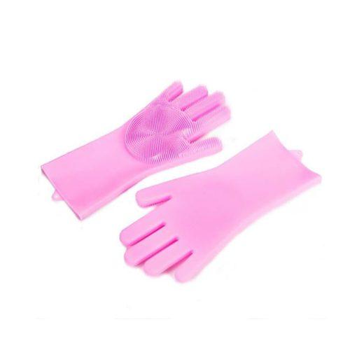 Manuși de silicon, pentru spălat vase, curățare, Roz