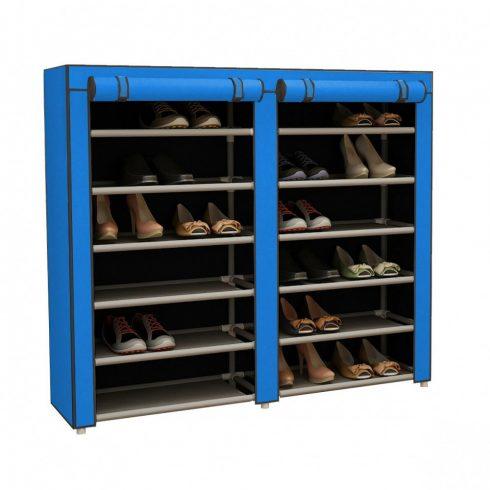 Pantofar textil mobil cu 12 rafturi, Albastru