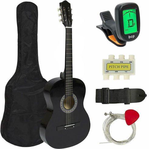 Set chitara acustica pentru incepatori, cu tuner cadou, Negru