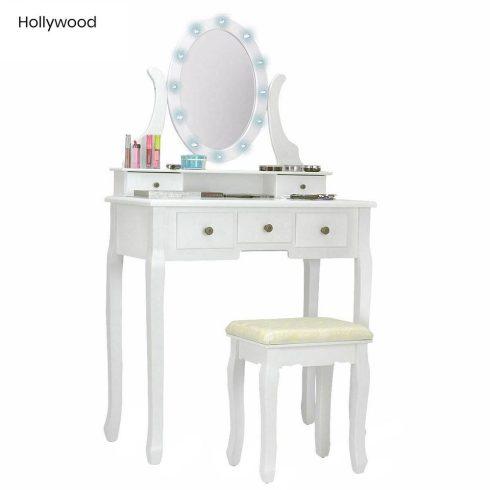 Set Masă Toaletă pentru Machiaj cu Oglindă, Hollywood - Alb