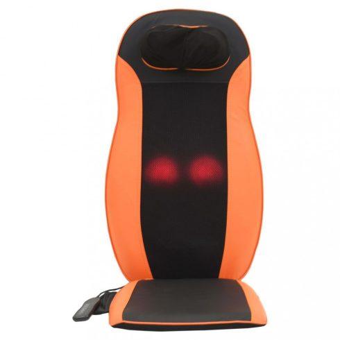 Husă de scaun pentru masajă, cu functie de incalzire, 3 programe de masaj, Negru-Portocaliu