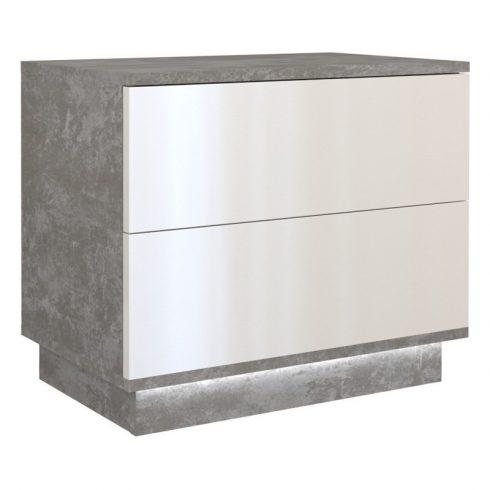 Thirassia S2, noptiera, culoare beton - alb lucios