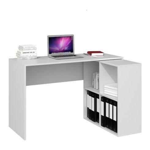 Drohmo Plus 2X2, masă birou cu rafturi, alb