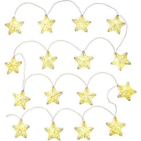 Retlux RXL 249 decor de Crăciun, stele din ratan, 16 LED-uri, alb cald