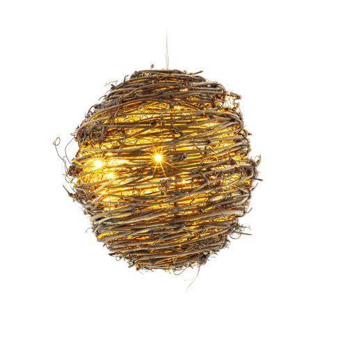 Retlux RXL 240 decor de Crăciun, cu baterie, minge de ratan, 20 LED, 30 cm, alb cald