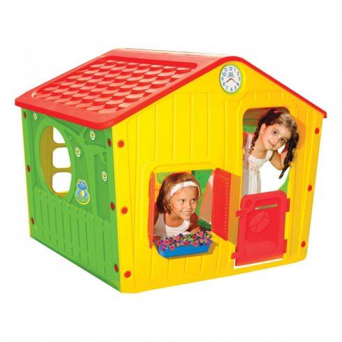 Căsuță village pentru copii, 140X108X116, roșu-galben-verde