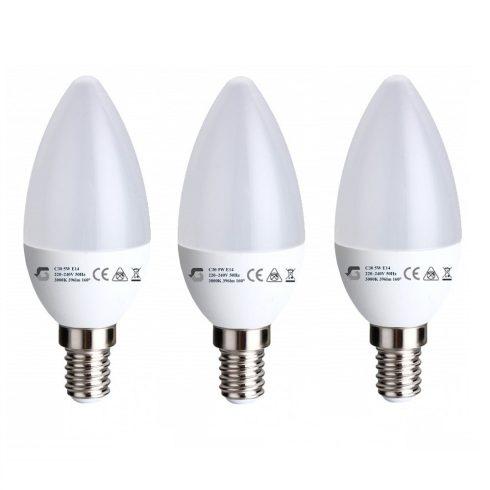Set 3 x Bec lumânare LED 5W E14