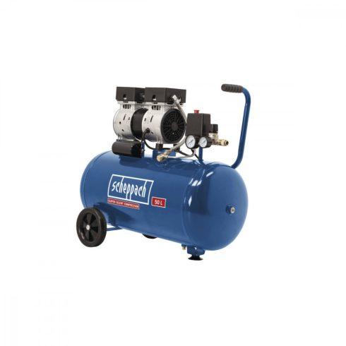 Scheppach HC 50 Si, compresor silențios cu doi cilindri, fără ulei 50 litri, 8 bar