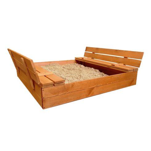 Ladă cu nisip din lemn PRO, cu acoperiș convertibi în bancăl, 120x124x21