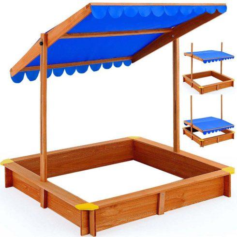 Ladă cu nisip din lemn PRO, cu acoperiș de umbrire, 120x124x21