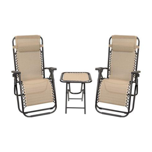 Aldabra 9012, set 2 scaune de grădină cu gravitație zero cu masă, bej
