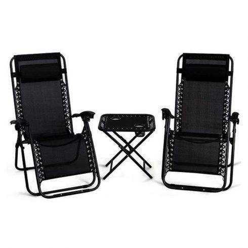 Aldabra 9016, 2 scaune de grădină cu gravitație zero cu suport pentru pahare și masă, negru