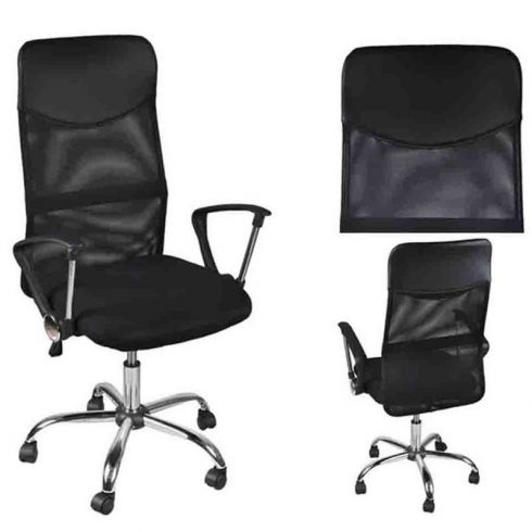 Scaun ergonomic de birou, reglabil pe înălțime, spătar ridicat, negru