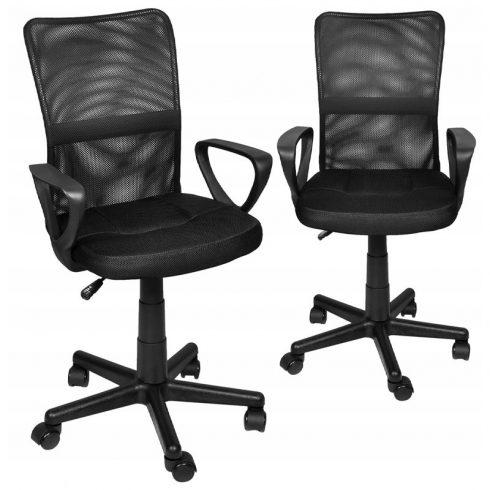 Scaun de birou cu role, reglabil pe înălțime, spătar ridicat, negru