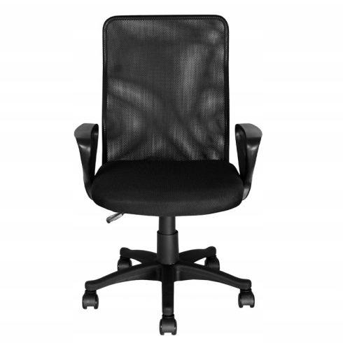 Scaun rulant pentru birou, reglabil pe înălțime, spătar din mesh, negru