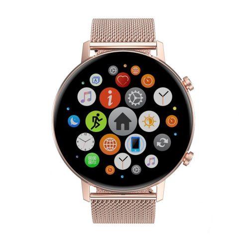 Safako SB7030, ceas inteligent, rosegold, curea silicon + cadou curea metal