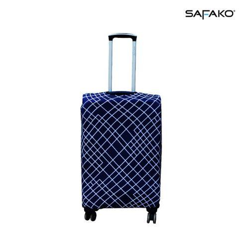 BP-B1M husă protectoare pentru valiză - grilă alb-albastru - M - valiză mică