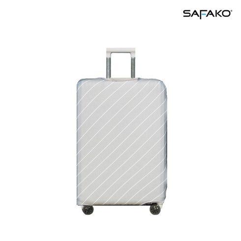 BP-B2M husă protectoare pentru valiză - alb cu dungi - M - valiză mică