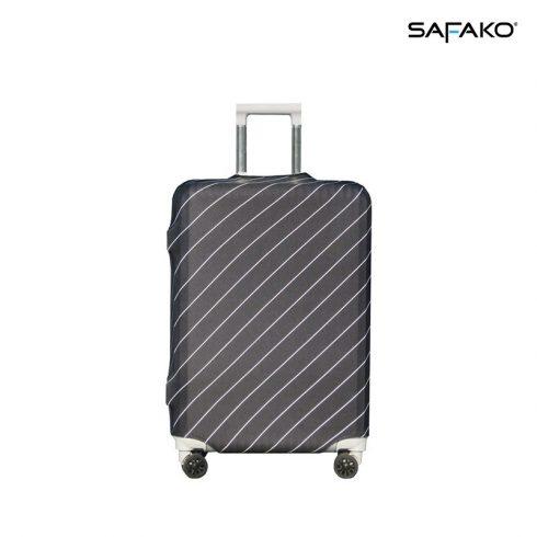 BP-B3L husă protectoare pentru valiză - negru cu dungi - L - valiză mijlocie