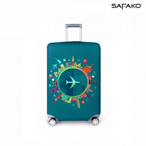 BP-C5XXL husă protectoare pentru valiză - word travel verde - XXL - valiză extra mare