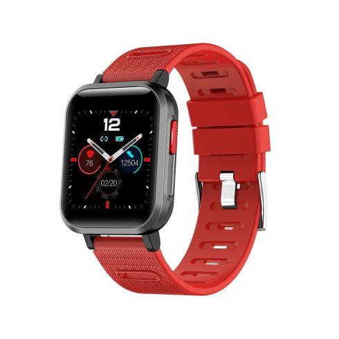 Safako SWP11, ceas inteligent, negru - curea roșie