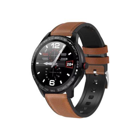Safako SWP51 ceas inteligent, negru - curea silicon cu înveliș din piele maro