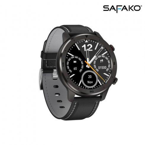 Ceas inteligent Safako SWP55 negru, curea neagră cu cusătură