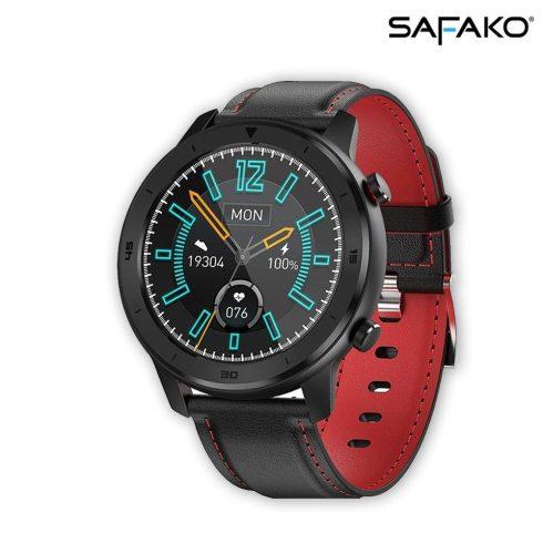 Ceas inteligent Safako SWP55  negru, curea neagră cu cusătură roșie